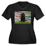 Water Lilies Women's Plus Size V-Neck Dark T-Shirt