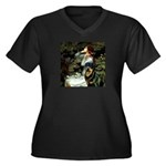 Ophelia/Rottweiler Women's Plus Size V-Neck Dark T