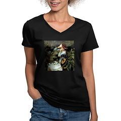 Ophelia/Rottweiler Women's V-Neck Dark T-Shirt