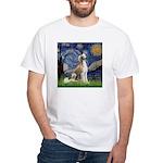 Starry Night / Saluki White T-Shirt