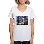 Starry Night / Saluki Women's V-Neck T-Shirt