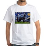 Starry Night / Schnauzer White T-Shirt