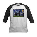 Starry Night / Schnauzer Kids Baseball Jersey