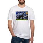 Starry Night / Schnauzer Fitted T-Shirt
