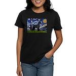 Starry Night / Schnauzer Women's Dark T-Shirt