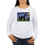 Starry Night / Schnauzer Women's Long Sleeve T-Shi