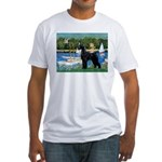 SCHNAUZER & SAILBOATS Fitted T-Shirt