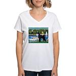 SCHNAUZER & SAILBOATS Women's V-Neck T-Shirt