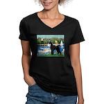 SCHNAUZER & SAILBOATS Women's V-Neck Dark T-Shirt