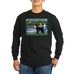 SCHNAUZER & SAILBOATS Long Sleeve Dark T-Shirt
