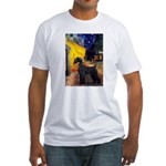 Cafe & Giant Schnauzer Fitted T-Shirt