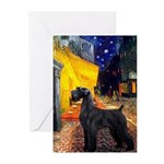 Cafe & Giant Schnauzer Greeting Cards (Pk of 20)