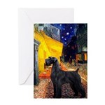 Cafe & Giant Schnauzer Greeting Card