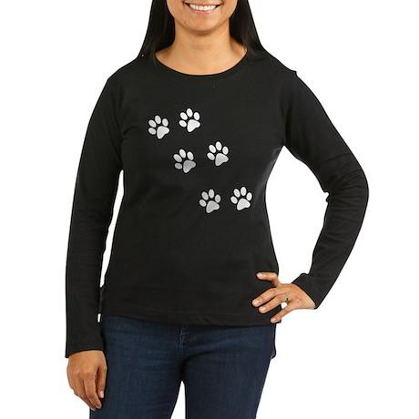Walk-On-Me Pawprints Women's Long Sleeve Dark T-Sh
