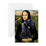 Mona Lisa /giant black Schnau Greeting Cards (Pk o