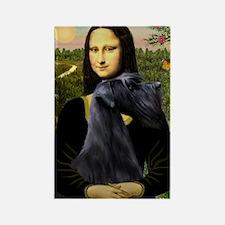 Mona Lisa /giant black Schnau Rectangle Magnet