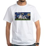 Starry Night / Min Schnauzer White T-Shirt