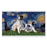 Starry Night / Min Schnauzer Sticker (Rectangle)