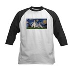 Starry Night / Min Schnauzer Kids Baseball Jersey