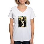 Mona Lisa & Siberian Husky Women's V-Neck T-Shirt