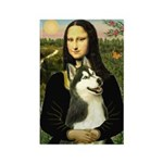 Mona Lisa & Siberian Husky Rectangle Magnet