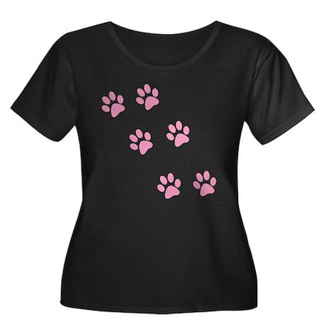 Pink Walk-On-Me Pawprints Women's Plus Size Scoop