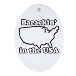 Barackin' in the USA Oval Ornament