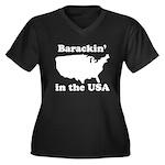 Barackin' in the USA Women's Plus Size V-Neck Dark