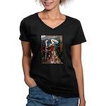 Tristan & Isolde Husky Women's V-Neck Dark T-Shirt