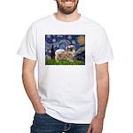 Starry / Tibetan Spaniel White T-Shirt