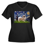Starry / Tibetan Spaniel Women's Plus Size V-Neck