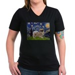 Starry / Tibetan Spaniel Women's V-Neck Dark T-Shi