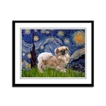 Starry / Tibetan Spaniel Framed Panel Print
