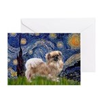 Starry / Tibetan Spaniel Greeting Card
