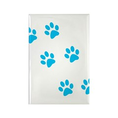 Blue Walk-On-Me Pawprints Rectangle Magnet (10 pac