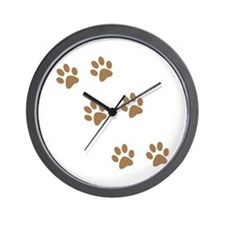Brown Walk-On-Me Pawprints Wall Clock