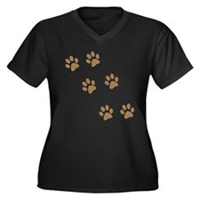 Brown Walk-On-Me Pawprints Women's Plus Size V-Nec