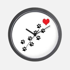 Paw Prints To My Heart Wall Clock