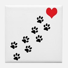 Paw Prints To My Heart Tile Coaster