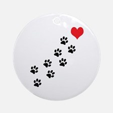 Paw Prints To My Heart Ornament (Round)