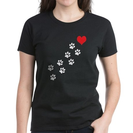 Paw Prints To My Heart Women's Dark T-Shirt