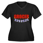 Retired Grocer Women's Plus Size V-Neck Dark T-Shi