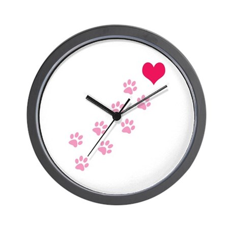 Pink Paw Prints To My Heart Wall Clock