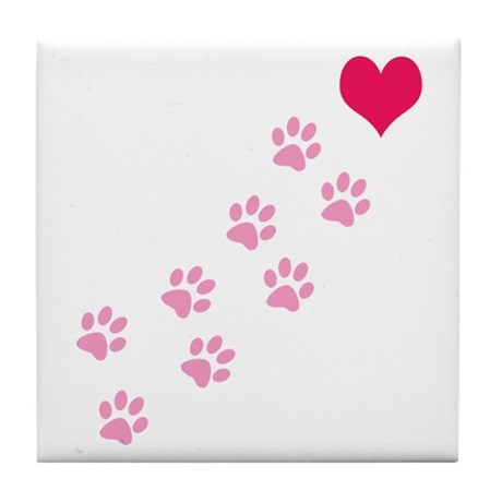 Pink Paw Prints To My Heart Tile Coaster