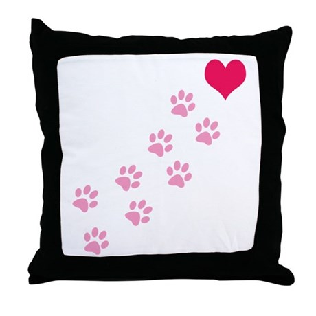 Pink Paw Prints To My Heart Throw Pillow