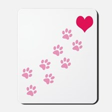 Pink Paw Prints To My Heart Mousepad