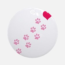 Pink Paw Prints To My Heart Ornament (Round)