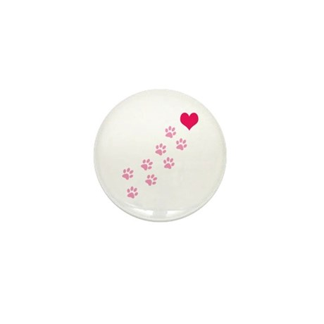 Pink Paw Prints To My Heart Mini Button (10 pack)