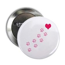 """Pink Paw Prints To My Heart 2.25"""" Button"""