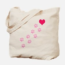Pink Paw Prints To My Heart Tote Bag